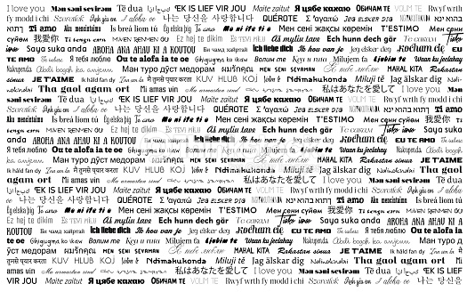 Words I love you in different languages. Vector greeting card
